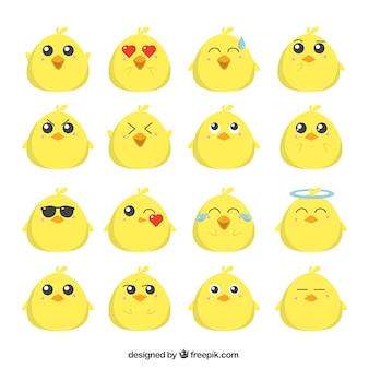 Flat emoji collection of funny chick