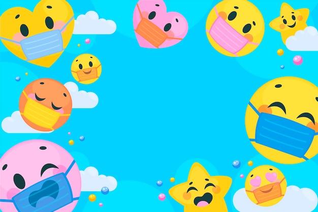 Flat emoji with face mask background