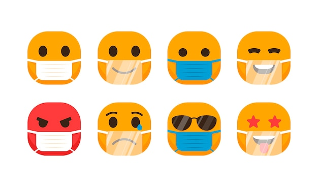 Плоские смайлики с набором масок для лица