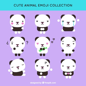 Flat emoticon collection of cute panda