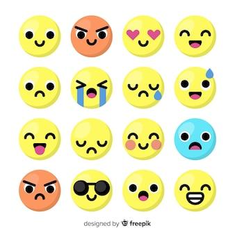 Flat emoticon reaction collectio