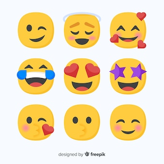Flat emoticon reaction collectio