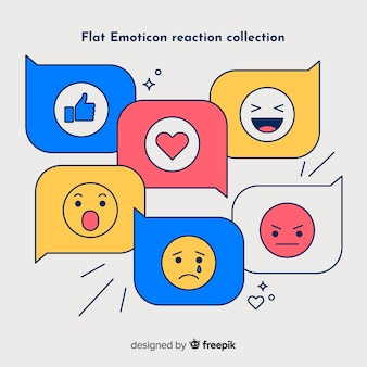 Flat emoticon reaction collection