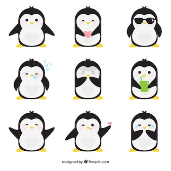 Flat emoticons of fantastic penguin