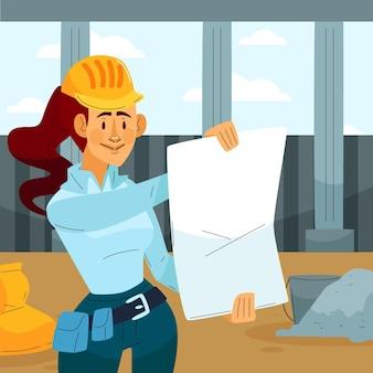Ingegnere piatto che lavora alla costruzione