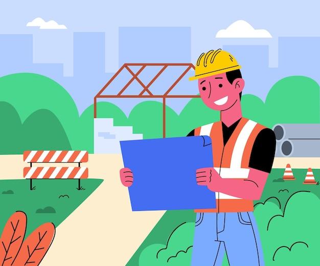 Плоский инженер, работающий над строительством, проиллюстрирован