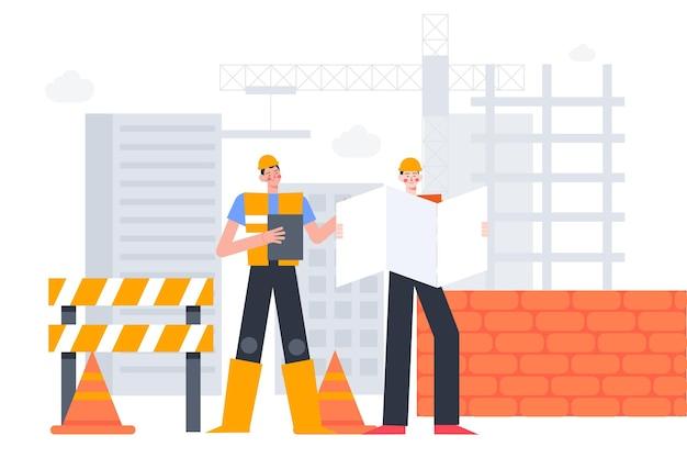 Плоское проектирование и строительство на иллюстрации