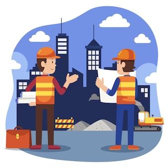 Плоские инженерные и строительные иллюстрации