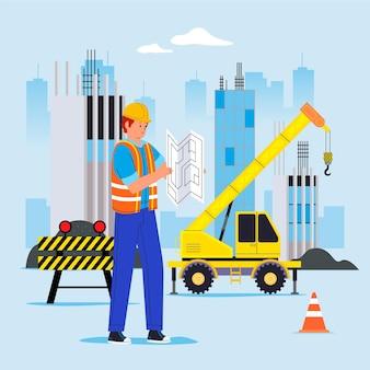Flat engineering and construction illustration