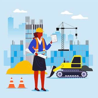 Illustrazione piana di ingegneria e costruzione