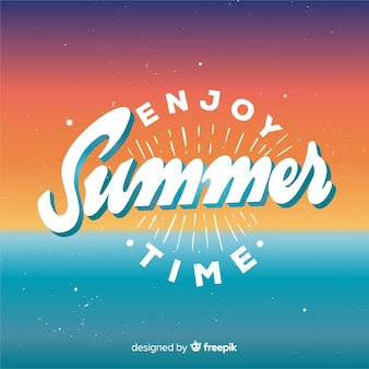 Flat enjoy summer lettering background