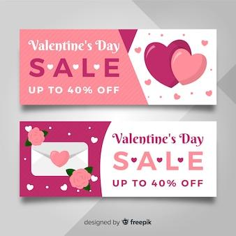 플랫 봉투 발렌타인 판매 배너