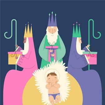 Flat epiphany festival illustration