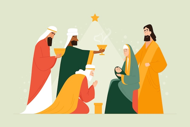 Плоская иллюстрация крещения