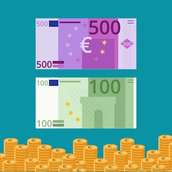 Flat Euro Banknotes And Coins