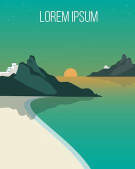 Flat evening coast landscape template