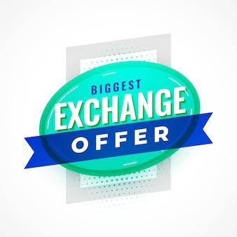 Design del poster dell'offerta di scambio piatto