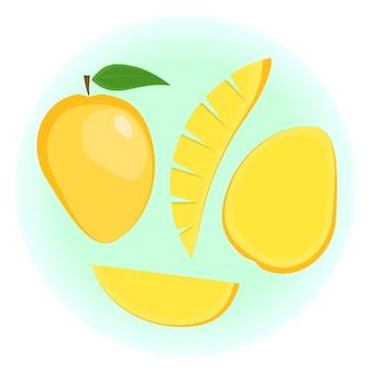 Плоский экзотический спелый апельсиновый манго Premium векторы