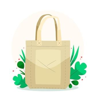 葉が描かれた平らな布製バッグ