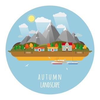 Плоская иллюстрация ландшафта падения с облаками, деревьями и чайками. солнце и небо, горы и осень