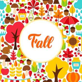 Flat fall seasonal greeting. vector illustration of autumn concept.