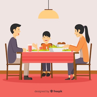 Flat family around the table