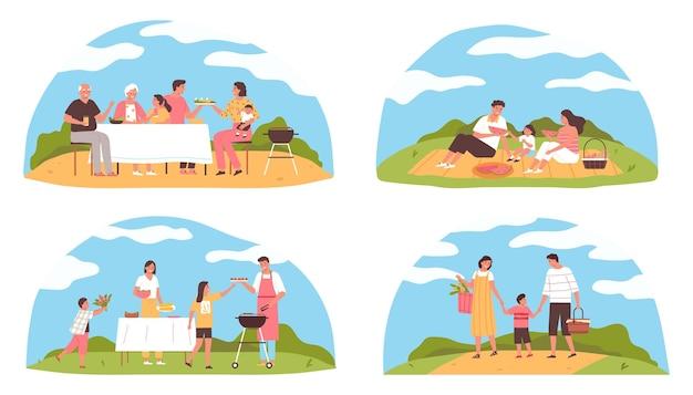 Composizioni piatte per picnic barbecue in famiglia con personaggi felici che cucinano