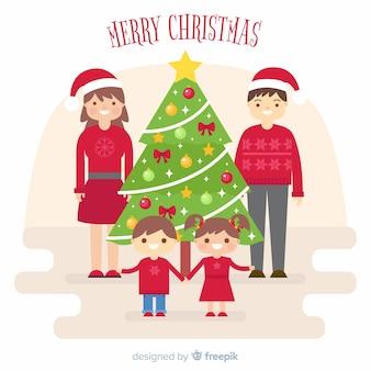 Flat family christmas background