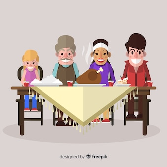 Flat family eating together