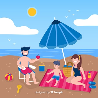 Flat family enjoying summer vacation