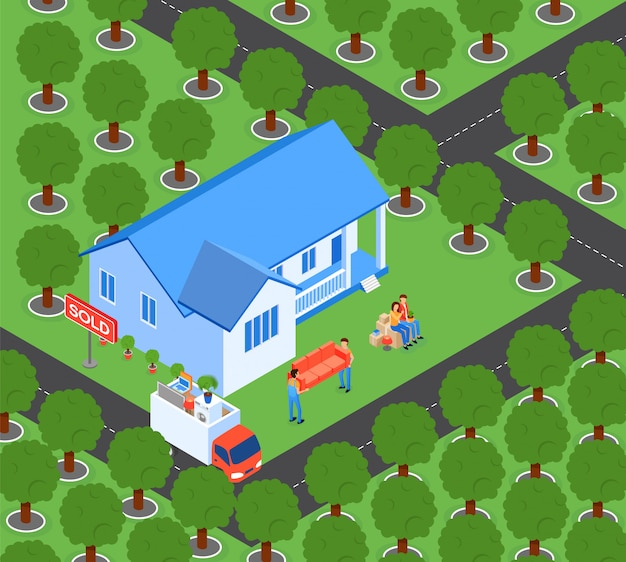 Flat family moves to new home vector illustration.