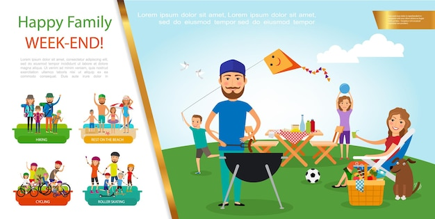 Flat family outdoor recreation concept with father mother children rest at barbecue party and beach go hiking riding bicycles and rollers  illustration,
