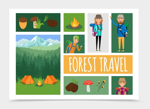 Flat family outdoor recreation in nature composition illustration