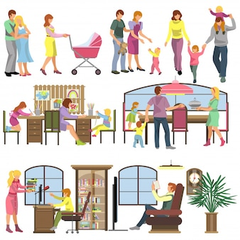 Flat family people vector illustration