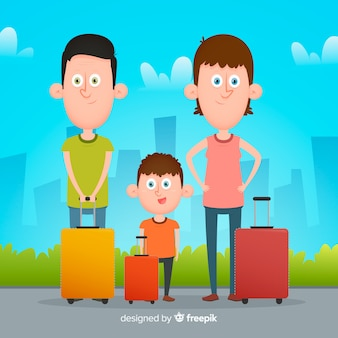 Flat family traveling background