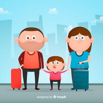 Flat family traveling background