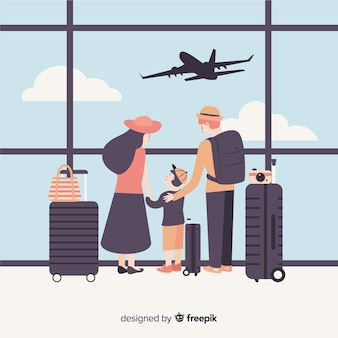 Flat family traveling