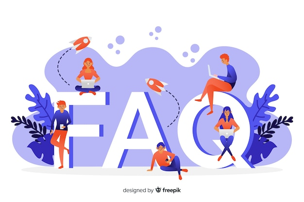 Flat faq concep blue background
