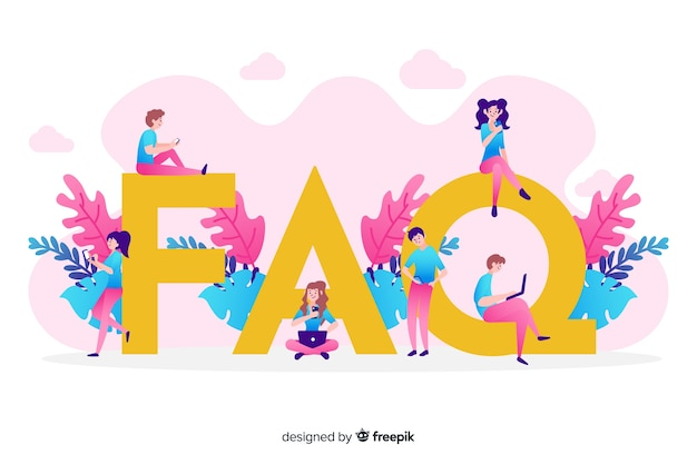 Flat faq concep pink background