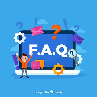 Flat faq concept background