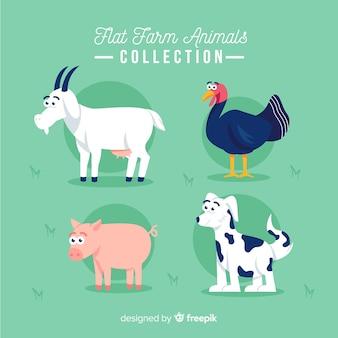 Flat farm animal collection