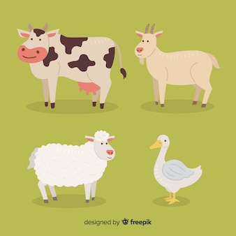 Flat farm animal collection Premium Vector