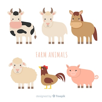 Flat farm animal collection