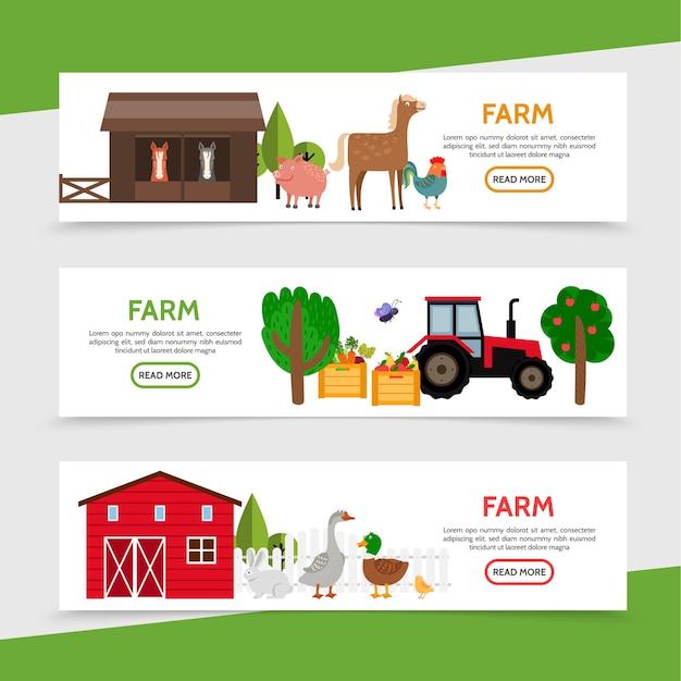 Flat farm horizontal banners