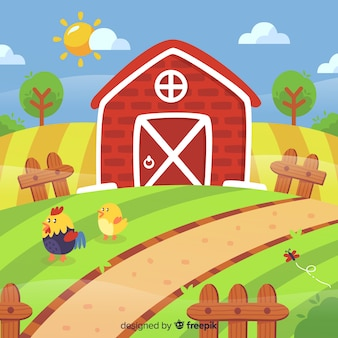 Flat farm landscape background