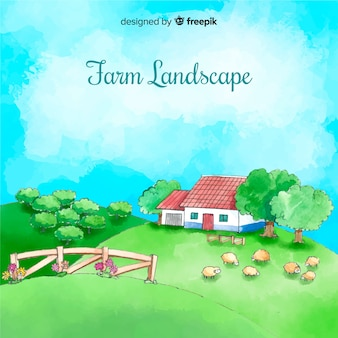 Flat farm landscape background