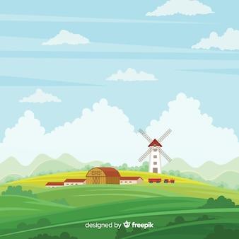 플랫 농장 풍경 배경