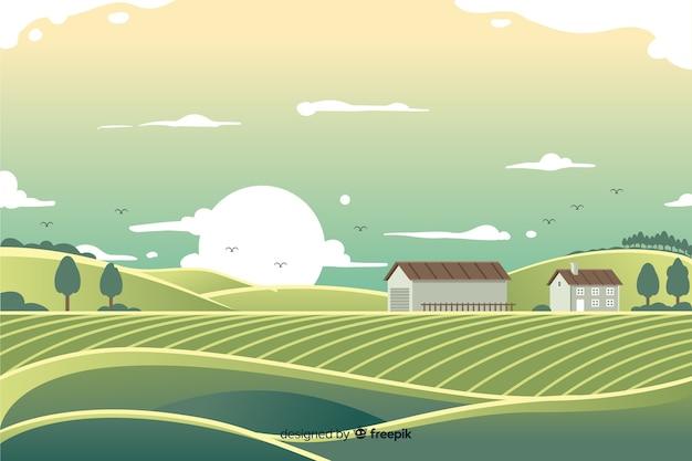 평평한 농장 풍경