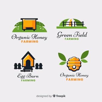 Flat farm logo collection