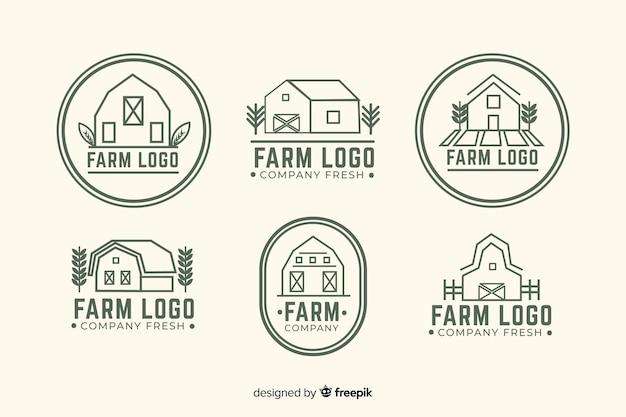 플랫 농장 로고 컬렉션